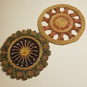 Vintage 60s Colorful Woven Straw Trivets Set
